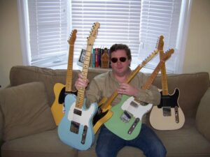 Patrick Golden with his collection of Fender Telecasters