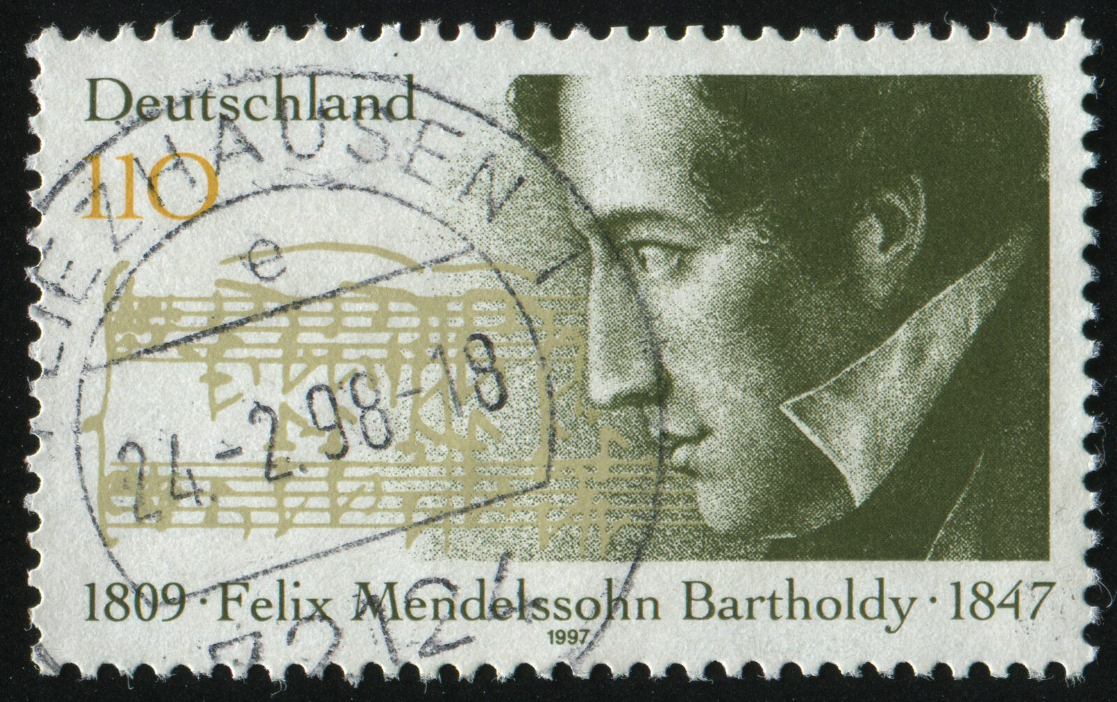 GERMANY- CIRCA 1997: stamp printed by Germany, shows Felix Mendelssohn-Bartholdy, Composer, circa 1997.