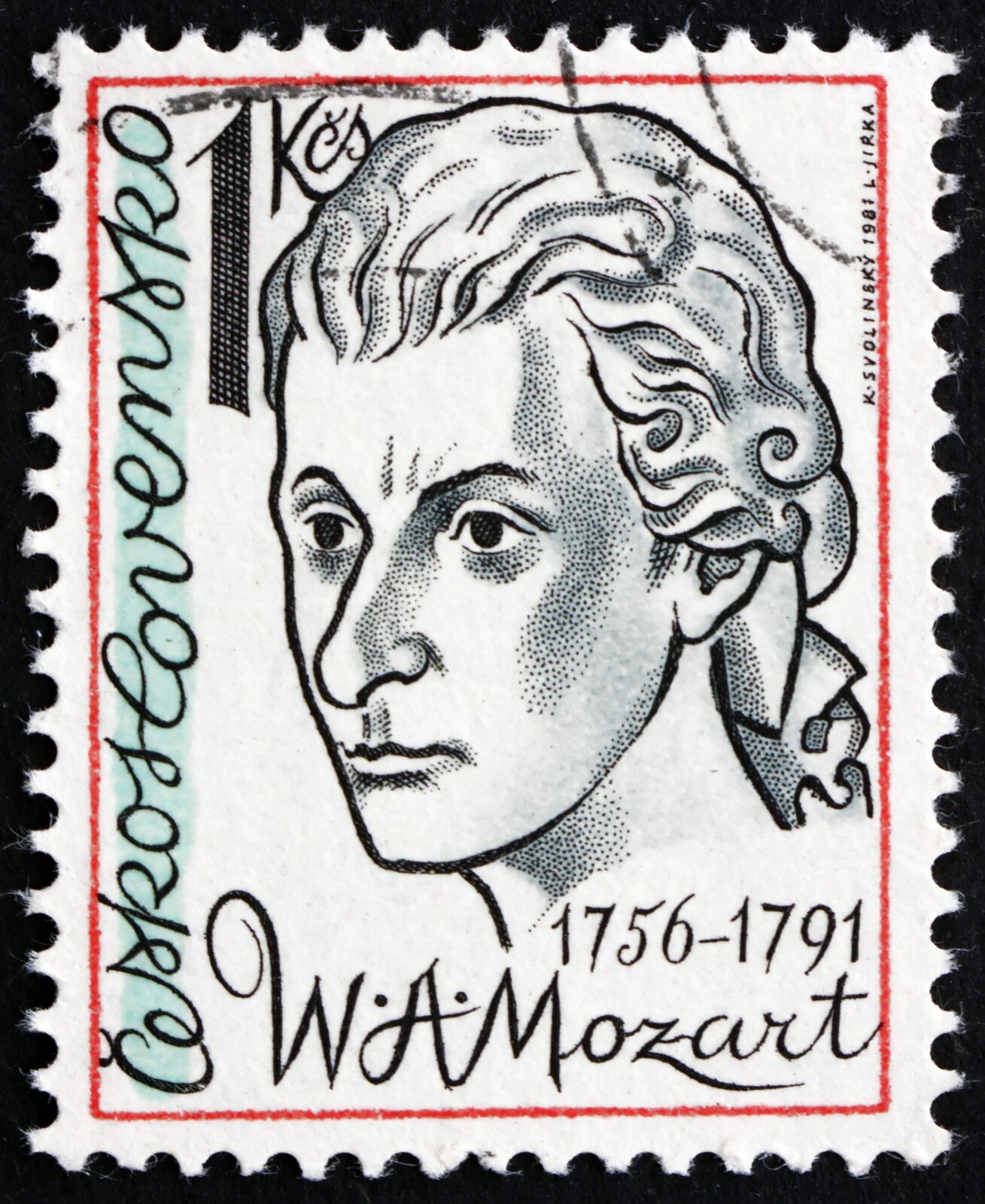 CZECHOSLOVAKIA - CIRCA 1981: a stamp printed in the Czechoslovakia shows Wolfgang Amadeus Mozart, Composer, circa 1981