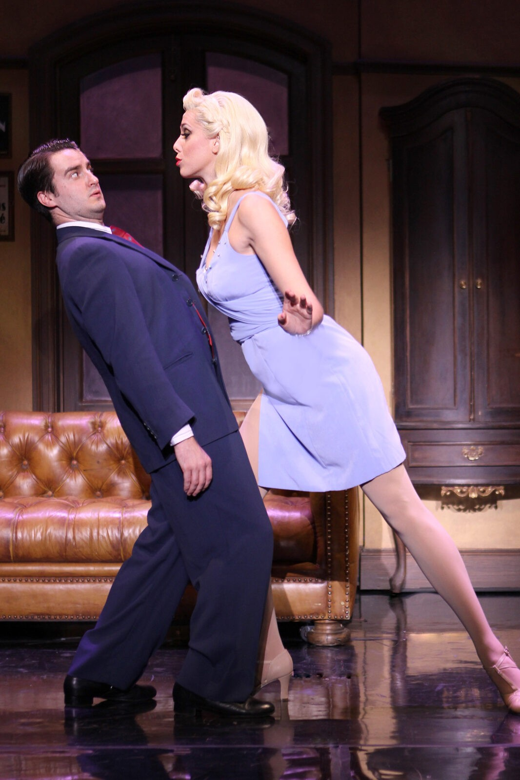 Richard Lafleur as Leo Bloom and Jessica Ernest as Ulla in THE PRODUCERS